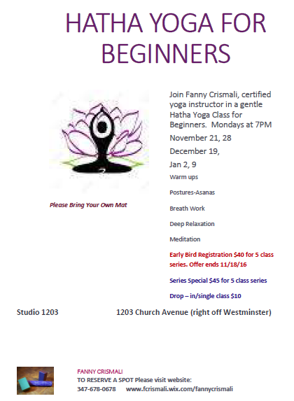 HATHA YOGA FOR BEGINNERS Posted By KARMABrooklyn On Thursday November 17 2016