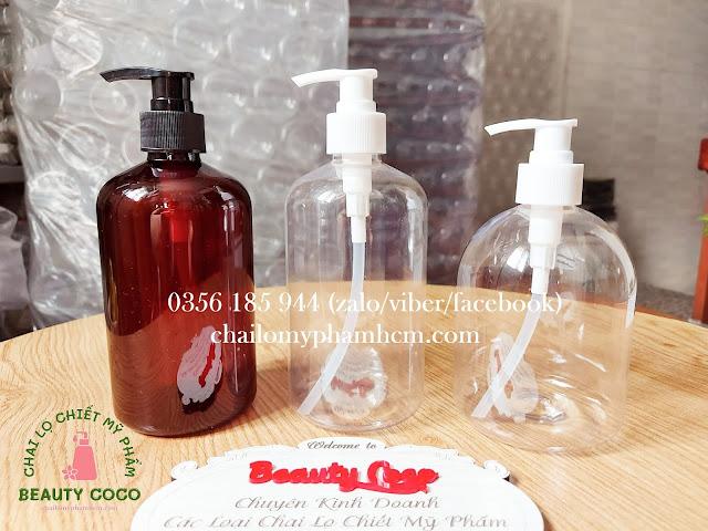 Chai nhựa xịt ấn giọt 500ml đựng nước rửa tay