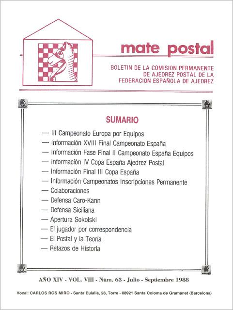 Mate Postal Nº63-Julio-Septiembre-1988