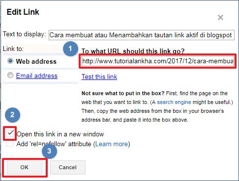 Cara membuat atau Menambahkan tautan tulisan link aktif di blogspot