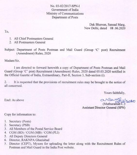 Amendment in Postman Mail Guard Recruitment Rules 2020