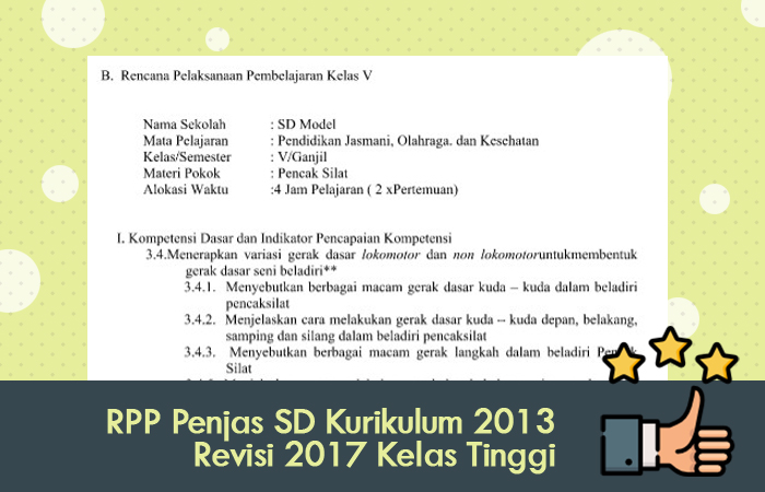 RPP Penjas SD Kurikulum 2013 Revisi 2017 Kelas Tinggi