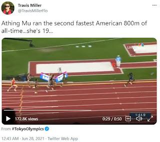 Tweet featuring Athing Mu's record breaking 800m