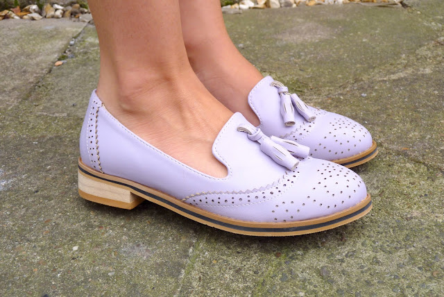 b3d5a526285  Lilac loafer shoes - C O OASAP    Playsuit - Rare London (old)