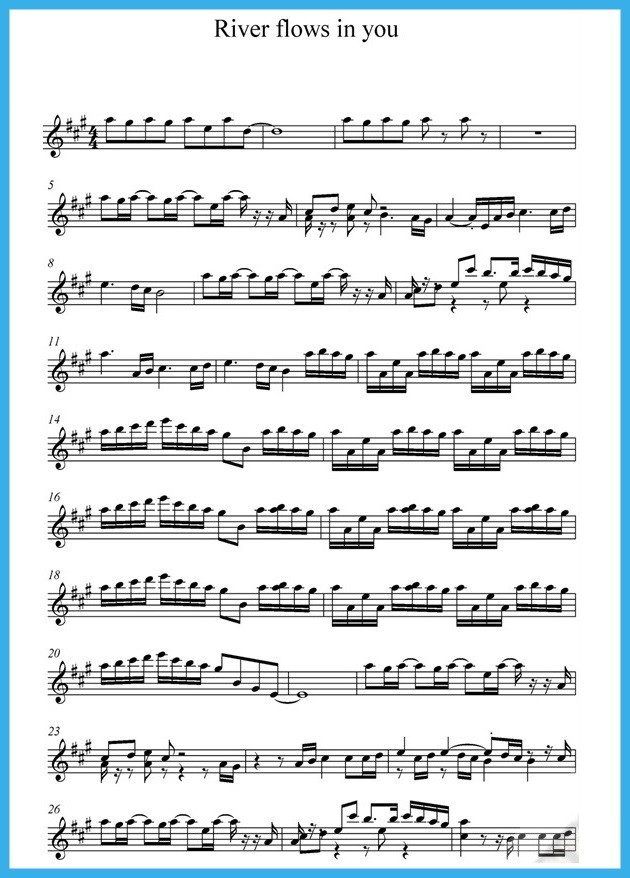 All Music Chords sheet music for river flows in you : Music score of