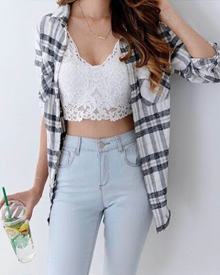 outfit casual for teenage with bralette white