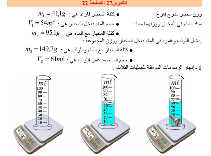 حل تمرين 27 صفحة 22 فيزياء للسنة الأولى متوسط الجيل الثاني