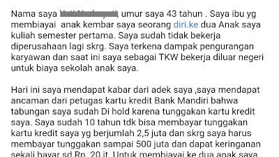 Blokir sepihak Bank Mandiri (39) - Utang 2,5 Jt jadi 500 Jt. Sadis!