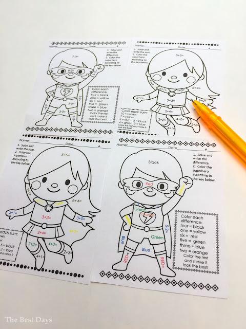 Basic addition and subtraction Superhero skills