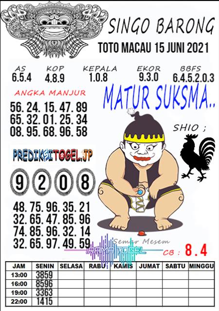 Syair Top Singo Barong Toto Macau Selasa 15 Juni 2021