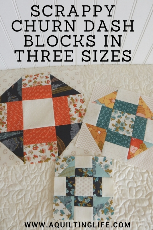 Quilt Pattern With Different Size Blocks : Scrappy Churn Dash Blocks Free Pattern A Quilting Life ...