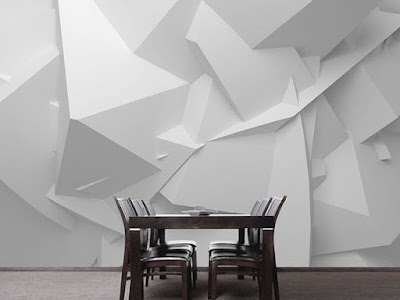 3D white wallpaper for walls 2019