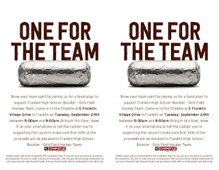 FHS Girls Field Hockey Team - fund raising at Chipotle - Sep 24