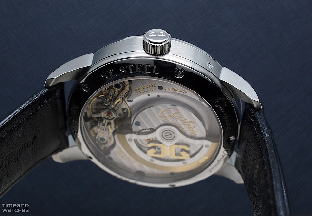 The caseback of the Detail of the moon phase display of the Glashütte Original PanoMaticLunar