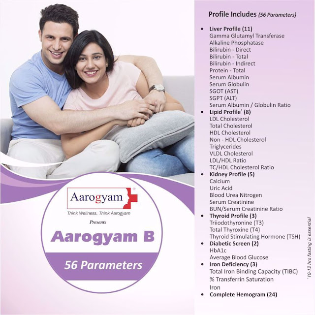 Aarogyam B Profile with Diabetes + Thyroid + Liver + Lipid + Renal + more @ Rs 600 / 56 Tests