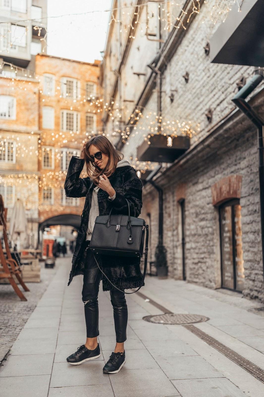 black fur coat winter style