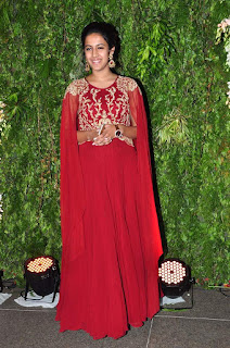 Actress Niharika Konidela Stills in Red Dress at Srija Wedding Reception 0005