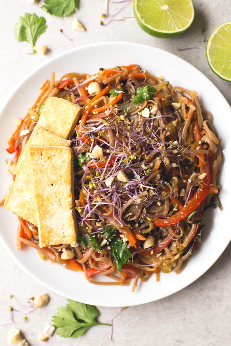Vegan Pad Thai Recipe | danceofstoves.com #vegan