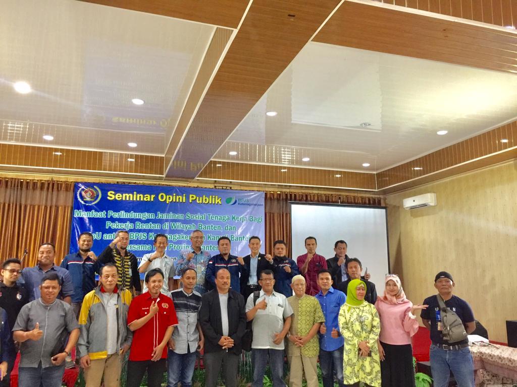Gelar Seminar Jamsos Bagi Pekerja Rentan, BPJS Ketenagakerjaan Gandeng PWI Banten