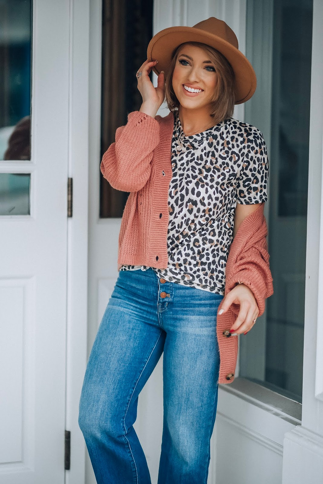 Mauve, Leopard and Flared Cropped Jeans - Fall Style 2019 - Something Delightful Blog #fallstyle