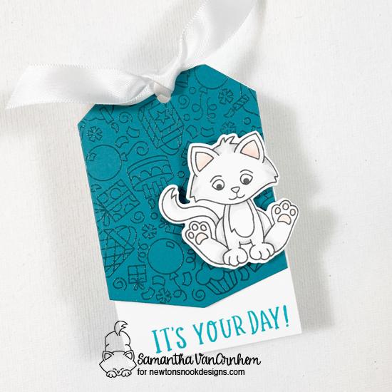 Trio of Kitten Birthday Tags by Samantha VanArnhem   Smitten Kitten Stamp Set, Birthday Roundabout Stamp Set and Fancy Edges Tag Die Set by Newton's Nook Designs #newtonsnook