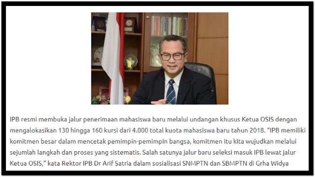 Ipb Membuka 160 Kuota Untuk Jalur Undangan Ketua Osis Tahun 2018