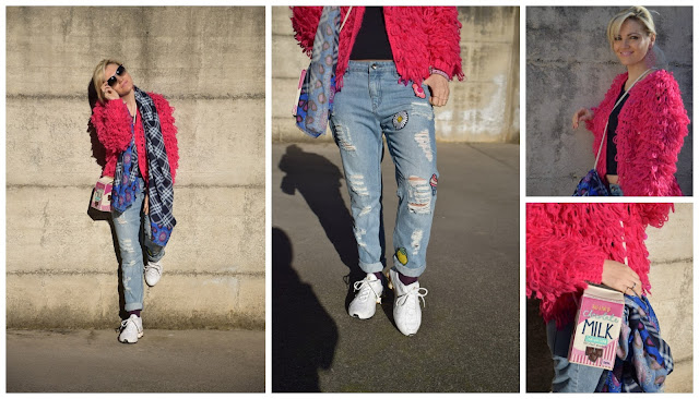 cardigan fucsia come abbinare il fucsia how to wear fucsia jeans boyfriend strappati  boyfriend ripped jeans  mariafelicia magno fashion blogger outfit gennaio 2017 blogger outfits blog di moda italiani blogger italiane di moda
