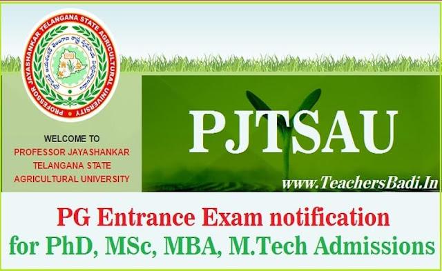 PJTSAU,PG Entrance Exam,pg,phd Admissions 2019