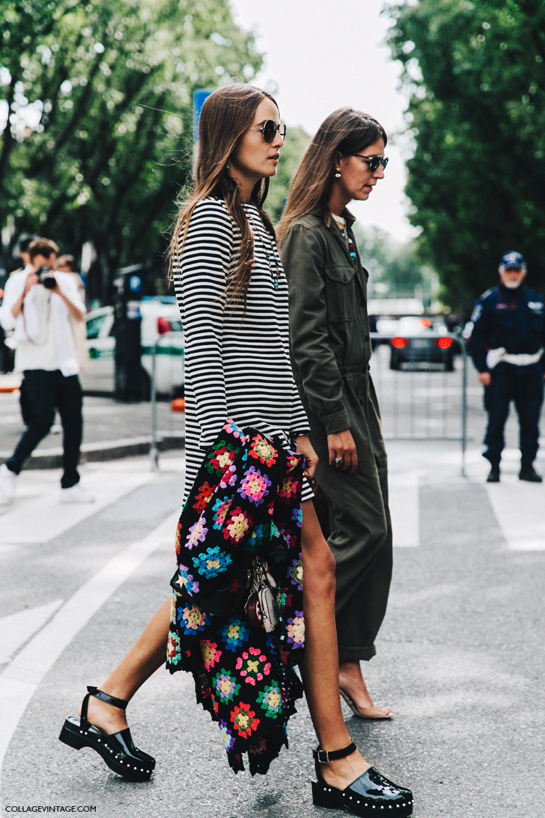 Crochet Knit trend 2021 —Street Style Fall Outfit Idea With Striped Dress, Sweater Coat, and Clogs