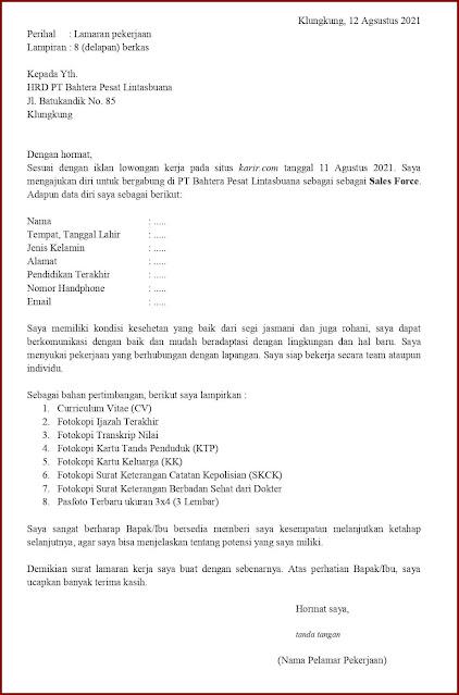 Contoh Application Letter Untuk Sales Force (Fresh Graduate) Berdasarkan Informasi Dari Website