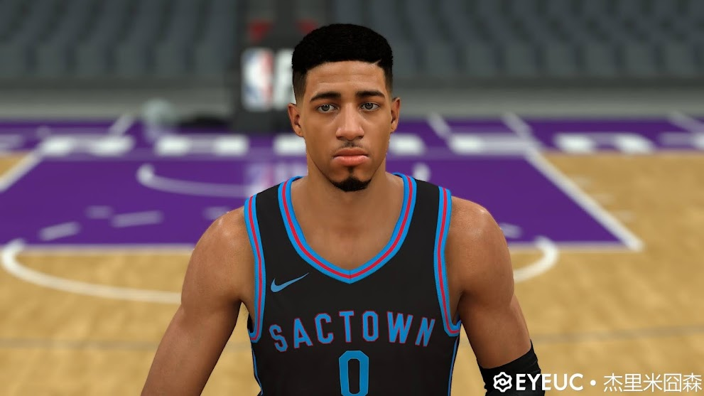 Tyrese Haliburton Cyberface, Hair and Body Model by White 55 Chocolate [FOR 2K21]