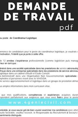 demande de travail pdf