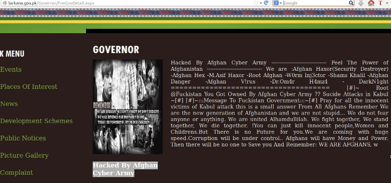 Afghan Cyber Army (ACA) hacked multiple Pakistan Government websites