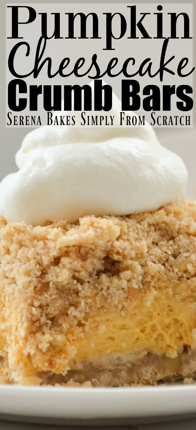 Pumpkin Cheesecake Crumb Bars are the perfect addition to the Thanksgiving and Christmas dessert table from Serena Bakes Simply From Scratch.