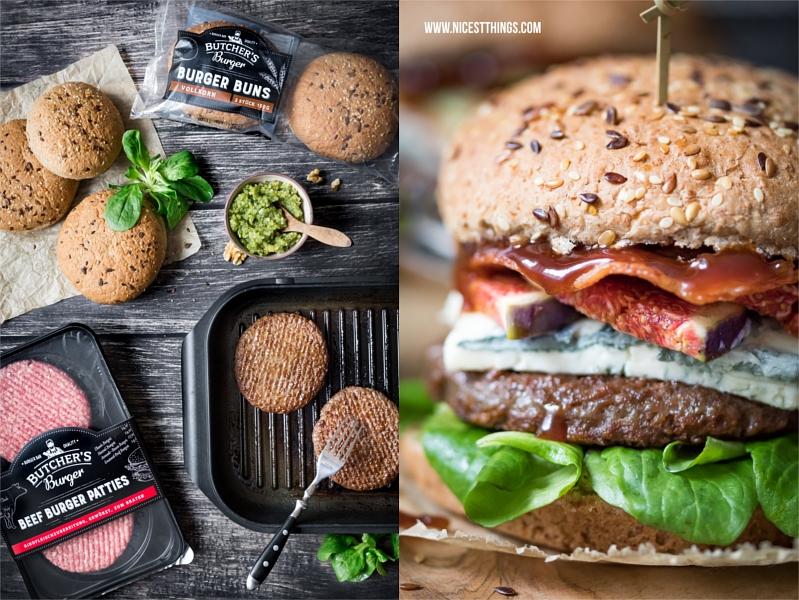 Herbst Burger mit Feigen, Gorgonzola, Walnusspesto und Butcher's Burger Buns