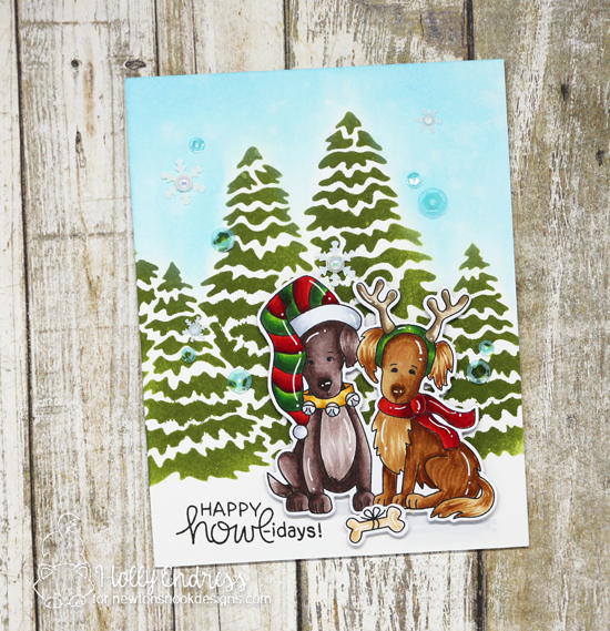 Dog Christmas Card by Holly Endress | Happy Howl-idays Stamp Set and Evergreens Stencil by Newton's Nook Designs #newtonsnook #handmade