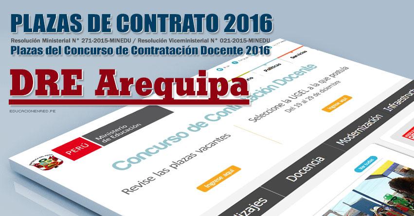 GRE Arequipa: Plazas Vacantes Contrato Docente 2016 (.PDF) www.grearequipa.gob.pe
