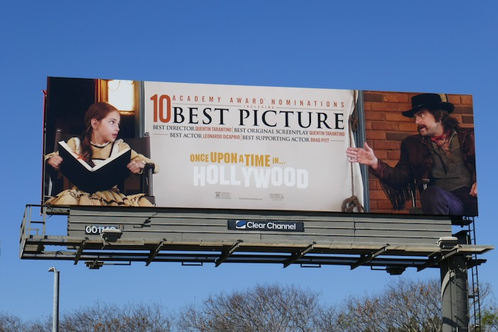 Once Upon a Time in Hollywood 10 Academy Awards billboard