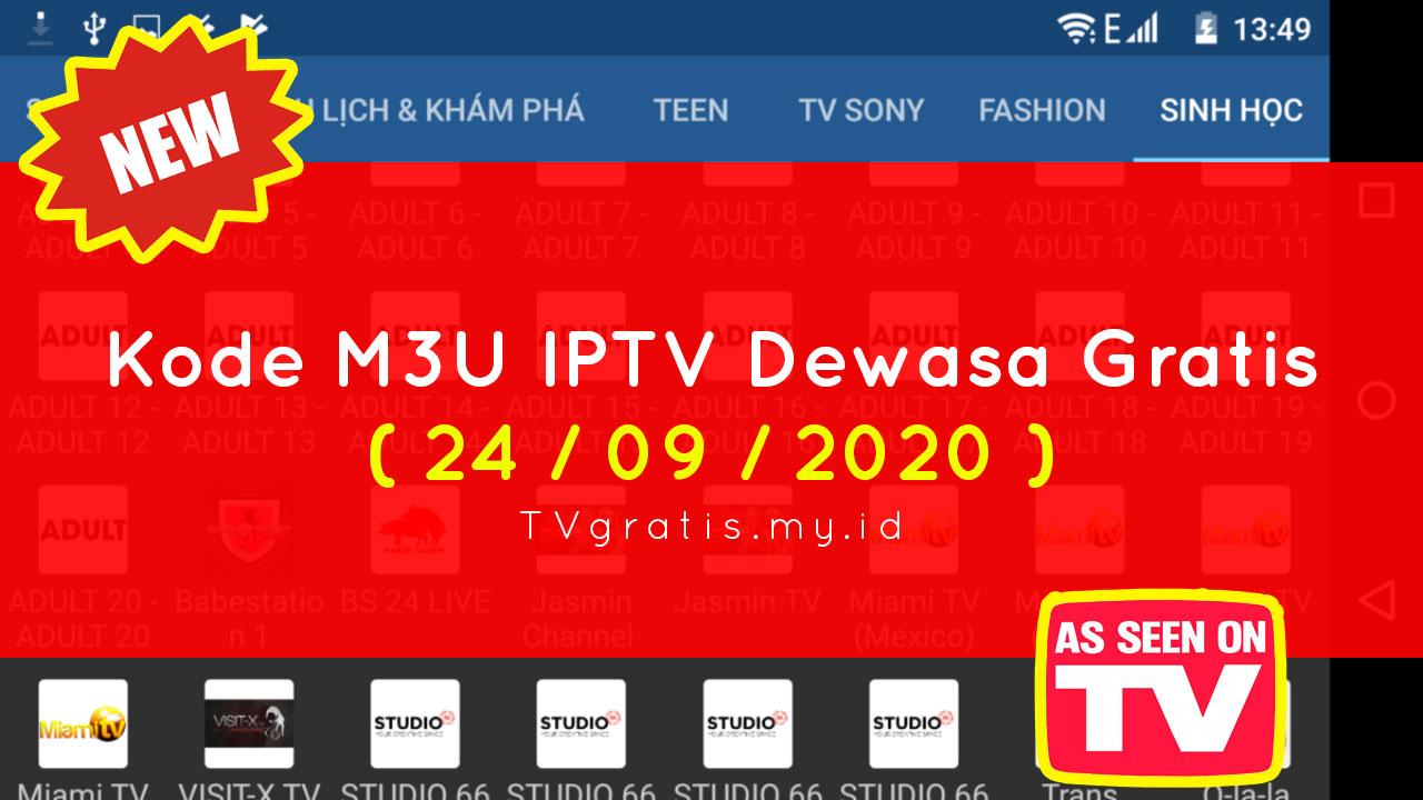 Kode M3U IPTV Dewasa Gratis 24-09-2020