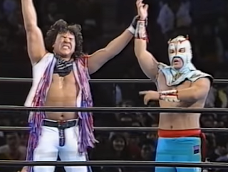 SWS/WWF SuperWrestle 1991 - Ultimo Dragon and Jerry Estrada celebrate after their match