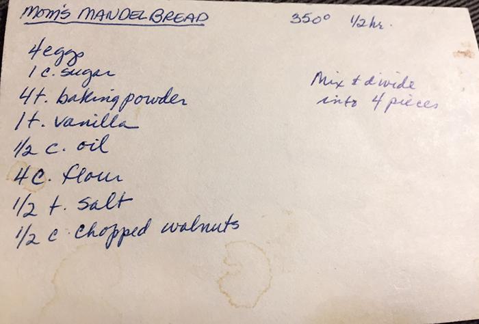 mom's handwritten recipe card