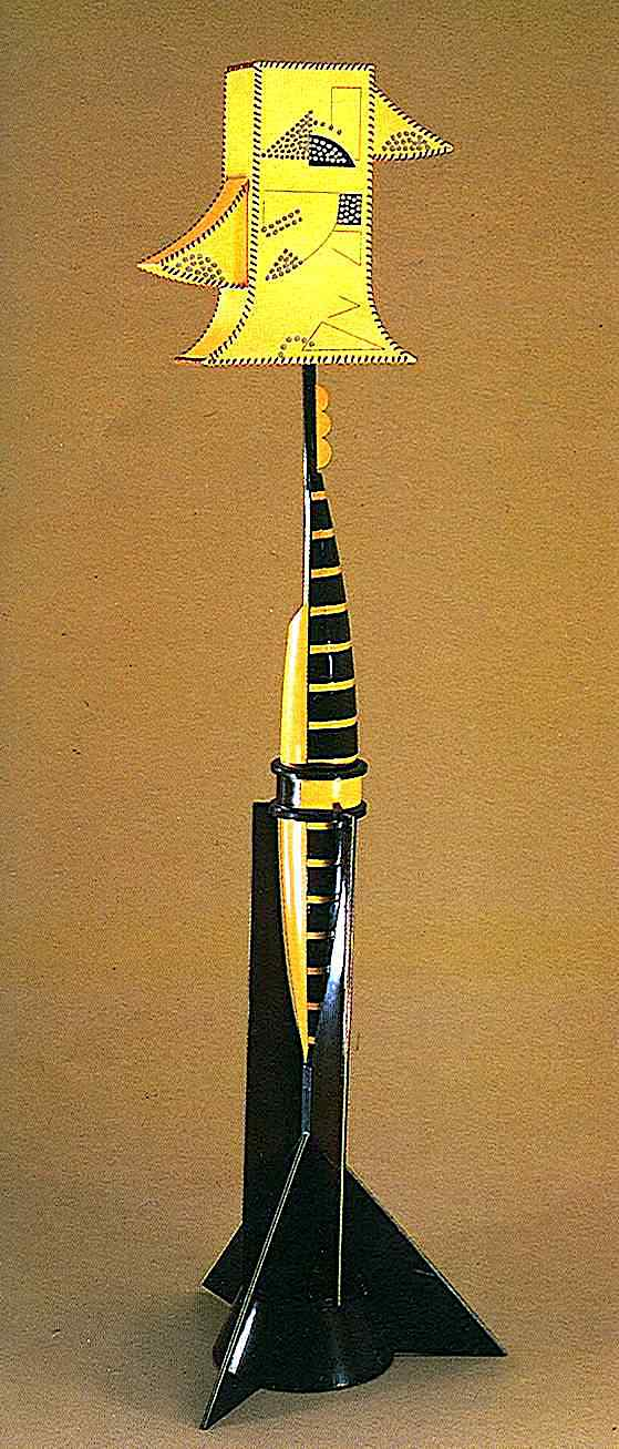 an unusual yellow and black modern 1930s floor lamp photograph