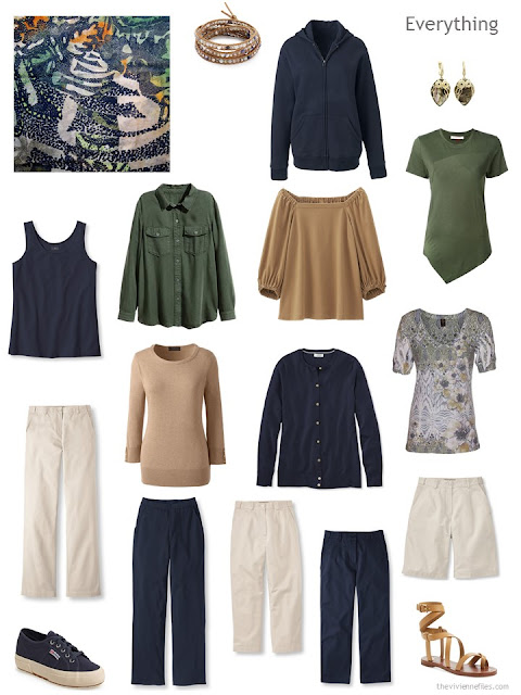 13-piece travel capsule wardrobe in navy, beige, camel and green