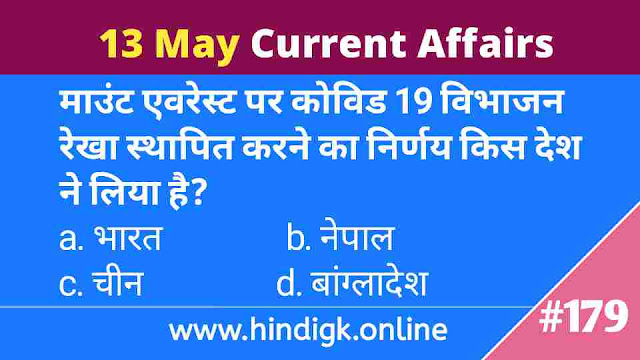 13 May 2021 Current Affairs In Hindi