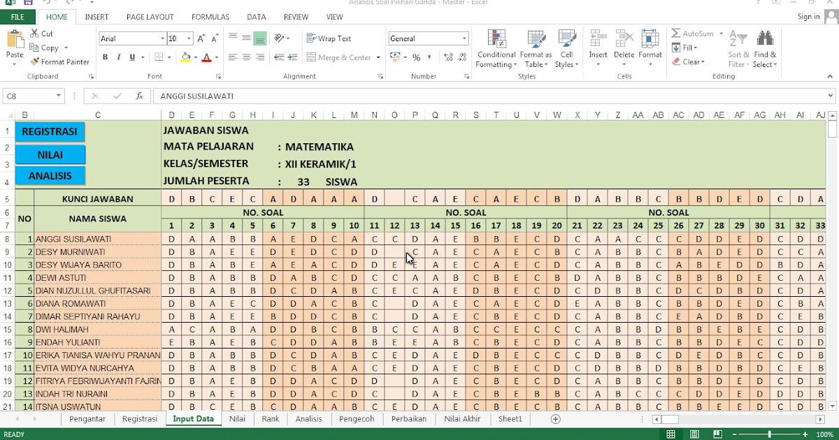 Aplikasi Analisis Soal Uas Dan Uts Gratis Format Excel File Berkas Sekolah