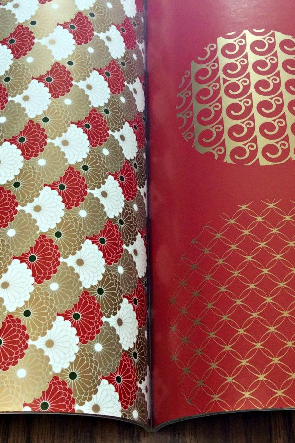red and metallic pantone gold gift wrap papers