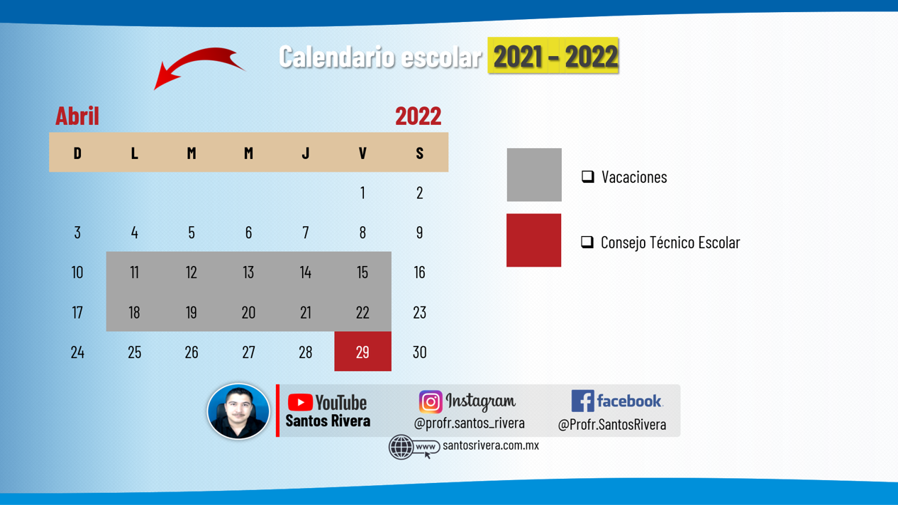 calendario escolar del mes de abril 2021 - 2022