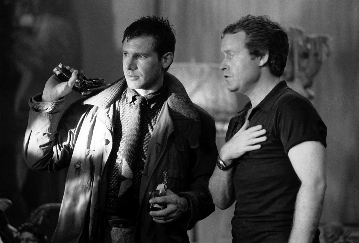 Ridley Scott con Harrison Ford en el rodaje de Blade Runner