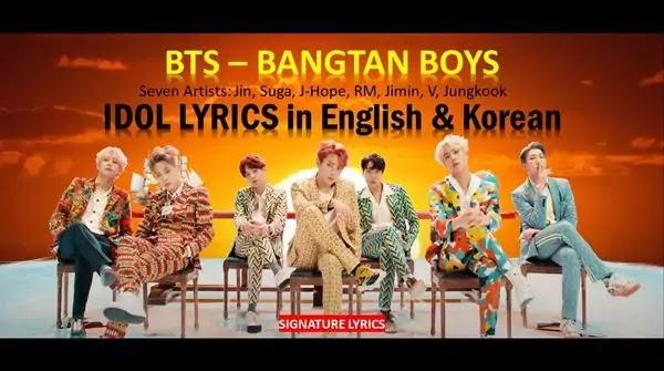 BTS - IDOL LYRICS - BANGTAN BOYS