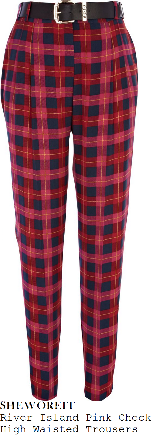 tamera-foster-pink-red-and-navy-tartan-check-trousers-x-factor